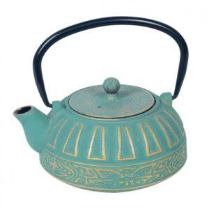 Tetera de hierro colado color azul con detalles dorados