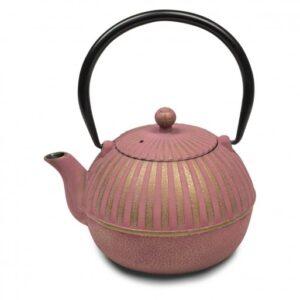 Tetera de hierro colado de color rosa fucsia y dorada 90 cl