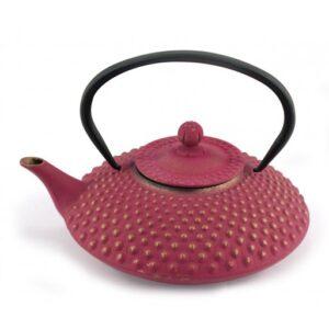 Gran tetera de hierro color rosa fucsia y dorada